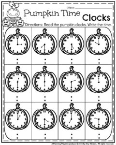 First Grade October Worksheets - Pumpkin Clocks Telling Time.