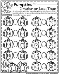 First Grade October Worksheets - Greater than Less Than Pumpkins.