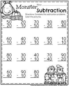 First Grade Worksheets for October - Monster Subtraction: Multiples of 10.