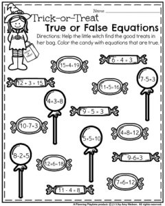 First Grade Worksheets for October - True or False Equations.