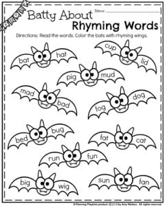 Halloween Rhyming Words Worksheet Furthermore Quarters Worksheet Year ...