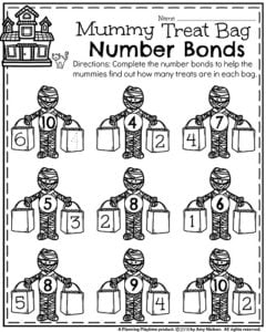 Halloween Kindergarten Worksheets - Mummy Number Bonds.