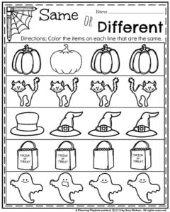 october kindergarten worksheets  planning playtime  halloween kindergarten worksheets  same or different