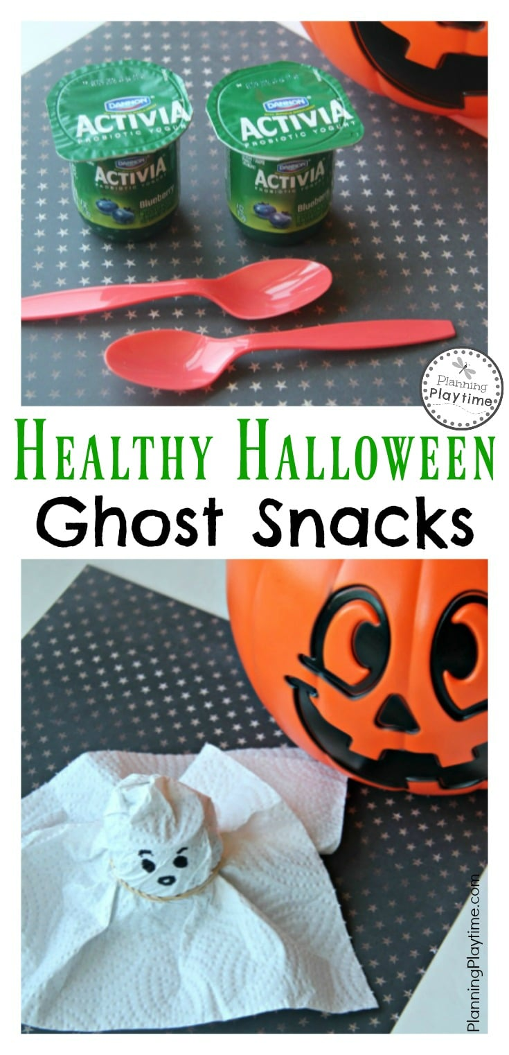 Healthy Halloween Ghost Snacks for Kids. Made with yogurt or applesauce cups and a paper towel.