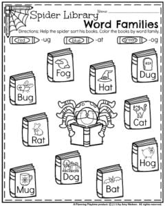 Kindergarten Worksheets for October - Spider Library Word Families