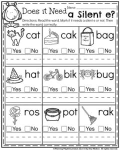 October First Grade Worksheets - Does it Need a Silent e?