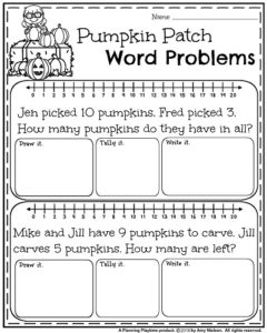 October First Grade Worksheets - Pumpkin Patch Word Problems.