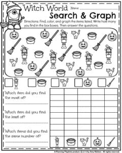October First Grade Worksheets - Search and Graph.