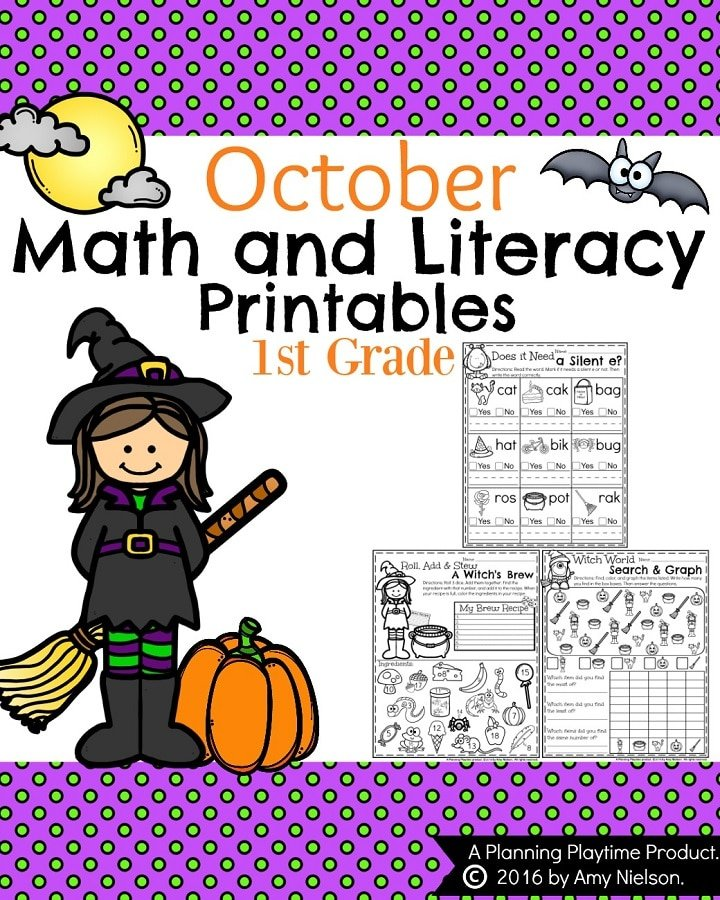 October First Grade Worksheets - 25 Fun Math and Literacy Printables for Halloween and fall.
