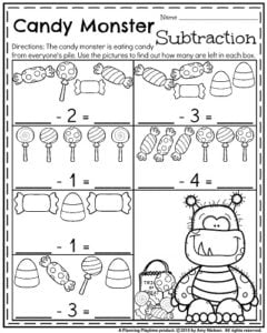 October Kindergarten Worksheets - Candy Monster Subtraction