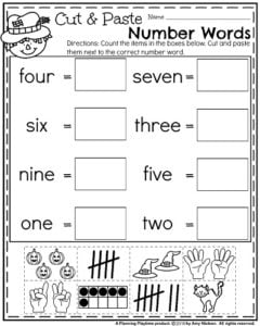 October Kindergarten Worksheets - Cut and Paste Number Words Counting.