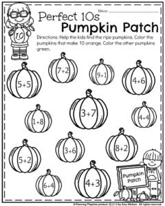 October Kindergarten Worksheets - Making 10 Pumpkin Patch