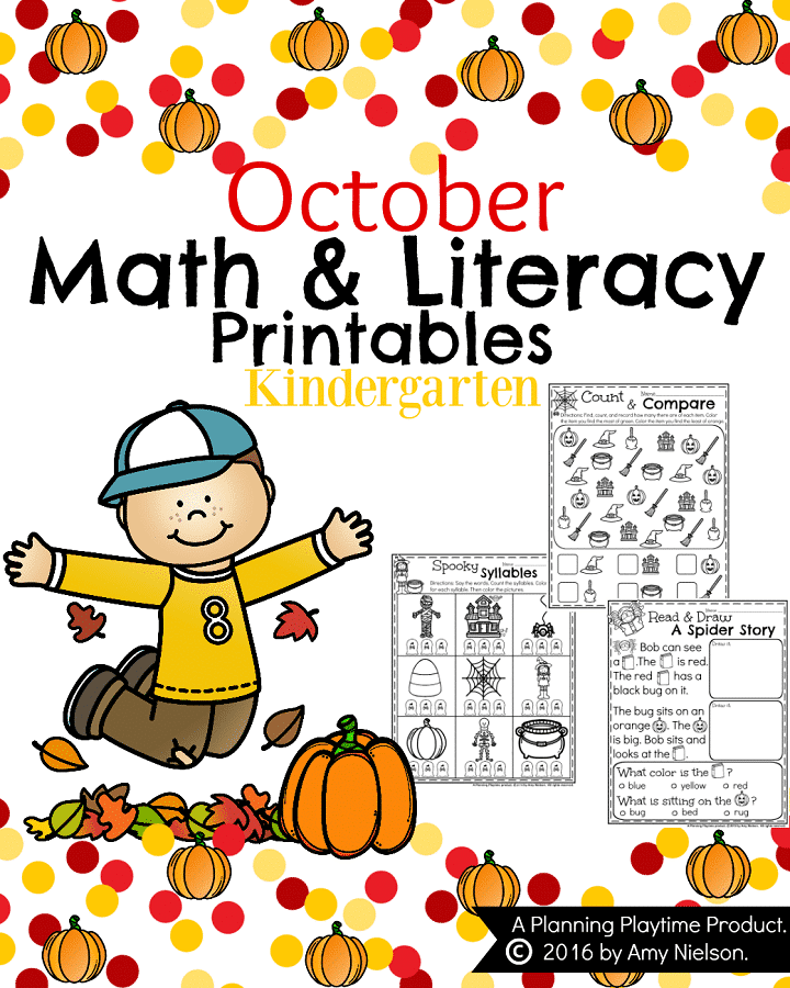 October Kindergarten Worksheets - Math, Reading, Writing, and more.