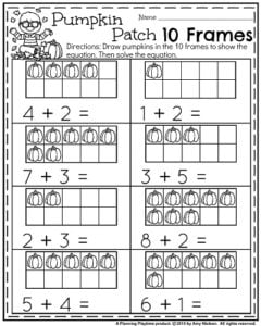 October Kindergarten Worksheets - Pumpkin Patch 10 Frames