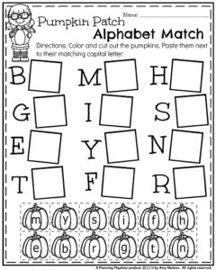 October Kindergarten Worksheets - Pumpkin Patch Alphabet Match