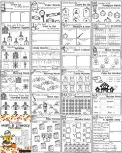 October Kindergarten Math Worksheets