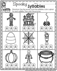 October Kindergarten Worksheets - Spooky Syllables.