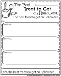 Opinion Writing Prompts for Halloween - The Best Treat to Get on Halloween