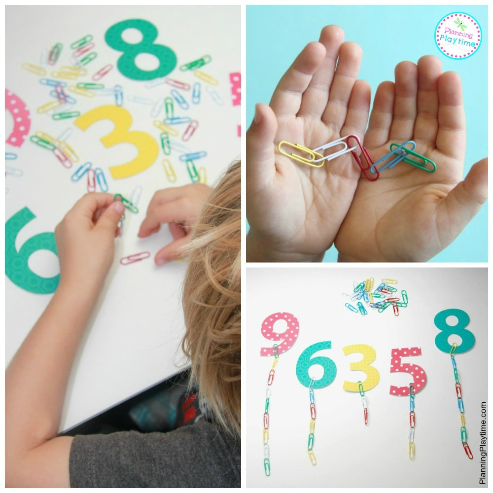 Paperclip chain counting activity for preschool. Great for fine motor practice too.