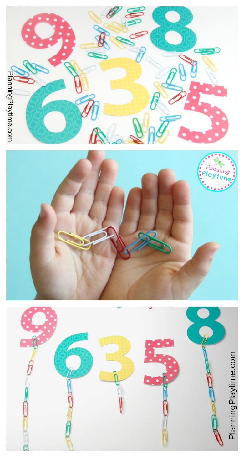 Paperclip chain Preschool Counting Activity for kids.