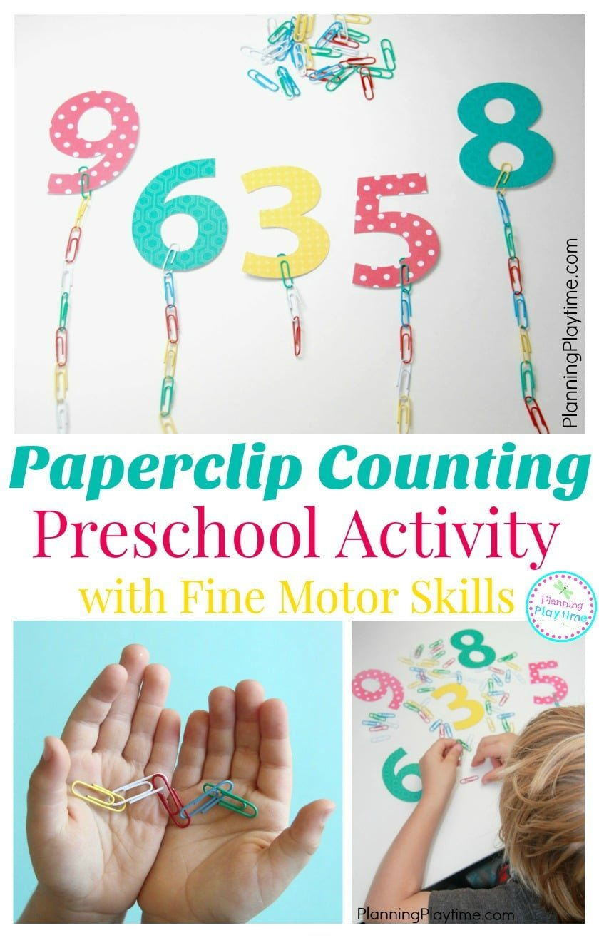 Paperclip chain Preschool Counting Activity with fine motor skills. So fun!