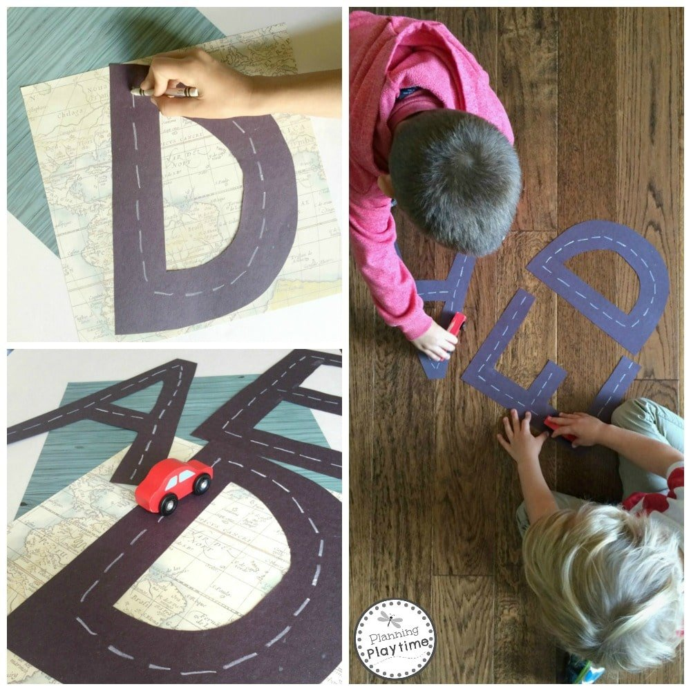Racing Letters Alphabet Tracing Activity for kids.
