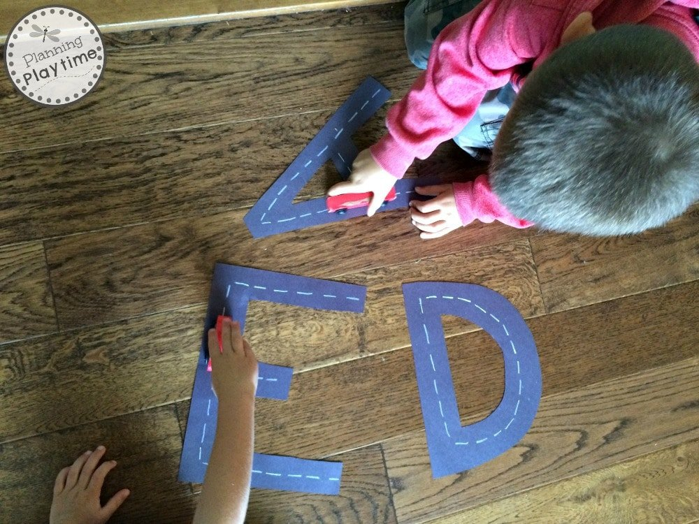 Racing Letters Alphabet Tracing Activity for Preschool kids.