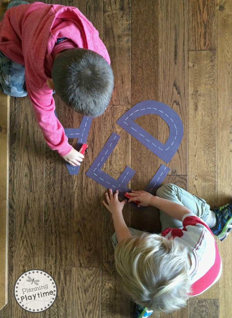 Racing letters Alphabet Tracing playdate activity for kids.
