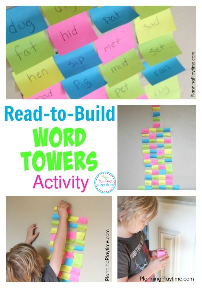 Read-to-Build Word Towers Reading Activity for Kids.