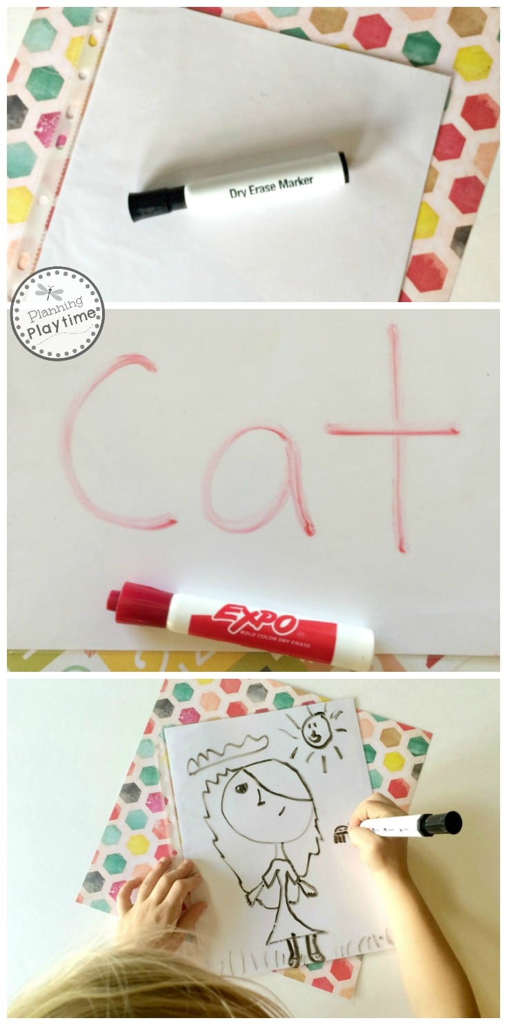 Easy DIY Dry Erase Boards for kids using card stock and sheet protectors.