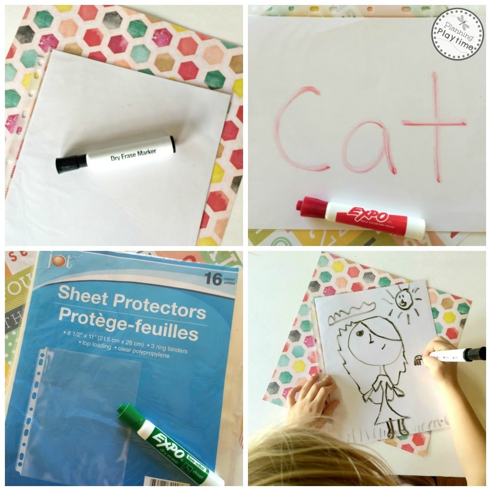 Easy, DIY Dry Erase Boards with a sheet protector and card stock.