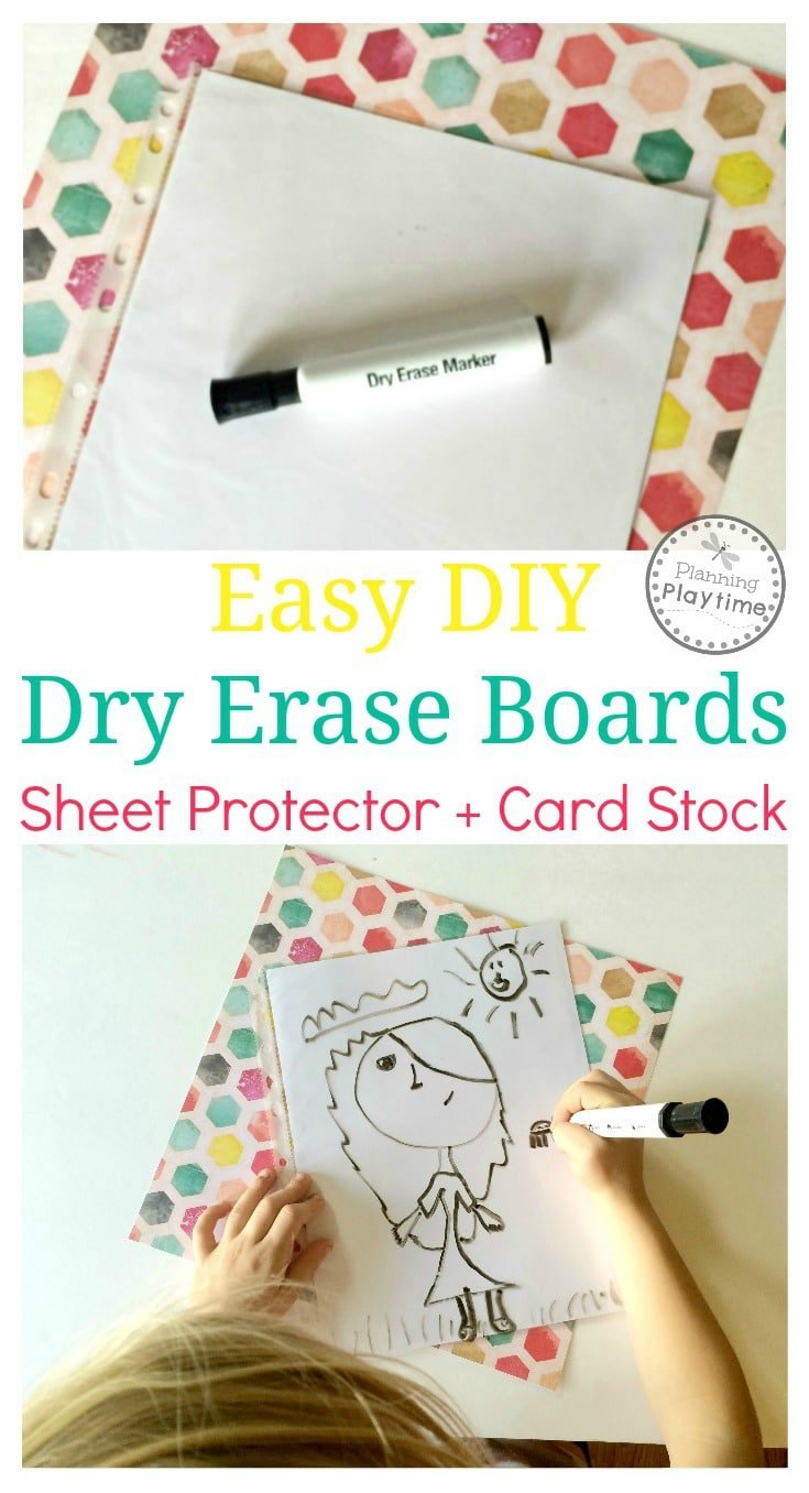 Easy DIY Dry Erase Boards using a sheet protector and card stock.