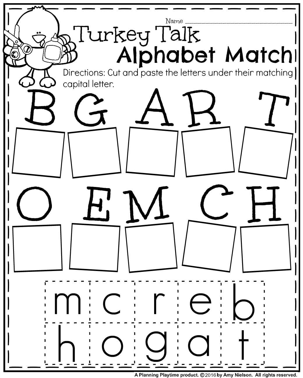 fall kindergarten worksheets for november  planning playtime free fall kindergarten worksheet for november  turkey alphabet match