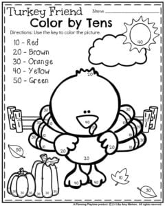 Fun November Kindergarten Worksheet - Turkey Friend Color by Tens.