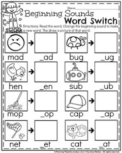 Fall Kindergarten Worksheets - Beginning Sounds Word Switch.