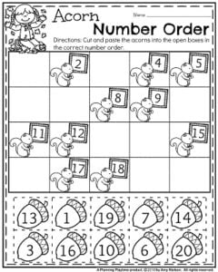 Fall Kindergarten Worksheets for November - Acorn Number Order.