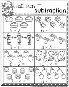 Fall Kindergarten Worksheets for November - Fall Fun Subtraction.