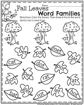 november kindergarten worksheets  planning playtime fall kindergarten worksheets for november  fall leaves word families
