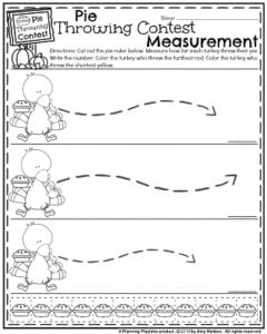 Fall Math Worksheets for November - Pie Throwing Contest Measurement.