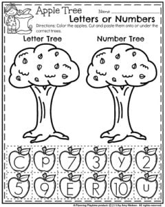 Fall Preschool Apple Worksheets Number or Letter Sort.