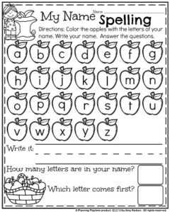 Fall Preschool Worksheets - Apple Name Spelling.