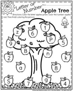 Fall Preschool Worksheets - Numbers or Letters Sort and Color.