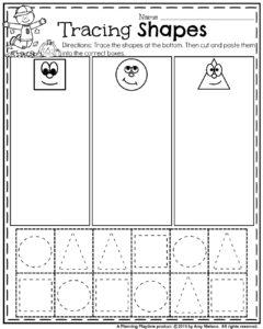 october preschool worksheets  planning playtime fall preschool worksheets  tracing shapes cut paste and sort