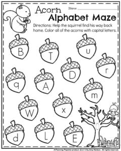 Fall Preschool Worksheets for November - Acorn Alphabet Maze Capital or Lowercase Letters.