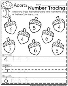 Fall Preschool Worksheets for November - Acorn Number Tracing.