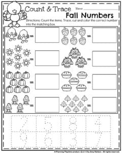 Fall Preschool Worksheets for November - Count and Trace fall numbers.