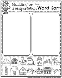 Fall Preschool Worksheets for November - Word Sort