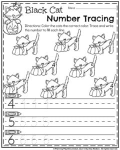 Halloween Preschool Worksheets - Black Cat Number Recognition and Tracing.