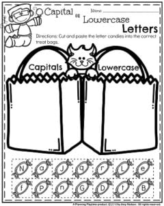 Halloween Preschool Worksheets - Capital or Lowercase letters.