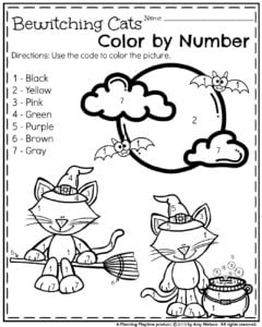 Halloween Preschool Worksheets - Color by Number.